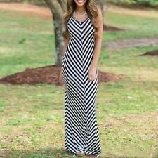 Sexy Womens Striped Sleeveless Boho Long Maxi Dress Summer Casual Beach Holiday