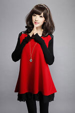 Womens Spring Autumn Colorblock Loose Large Size Korean Style Long Sleeve Dress
