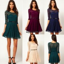 Sexy Women's Summer Round Neck 3/4 Sleeve Lace Sakter Dress Fit Slim Party Dress