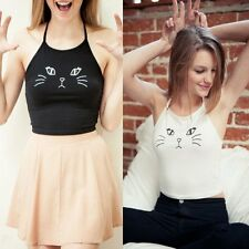 Fashion Womens Summer Halter Cute Cat Floral Tank Top Vest T-shirt Blouse Tops