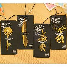 1Pc Bookmark Metal Leaf Key Feather Plated Clip Book Magazine Label Reading Gift