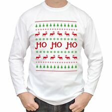 NEW - HO HO HO - Christmas Sweater Mens White T-Shirt Long Sleeve - Gift Present