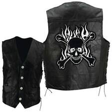 Black Leather Biker Motorcycle Harley Rider Chopper Vest Skull Patch