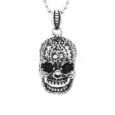 Men Black Silver Stainless Steel Skull Head Pendant Necklace Chain Jewelry Gift