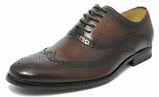 Mens Two Tone Brown Shoes Leather Lined Lace Up Smart Casual 6 7 8 9 10 11 12