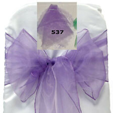 Lavender Organza SASH BOW CHAIR COVER BOWS DECORATION FOR WEDDING PARTY