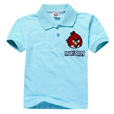 NEW KIDS POLO SHORT SLEEVE COTTON CARTOON ANGRY BIRDS T-SHIRT  BLUE AGE 7-11 Y