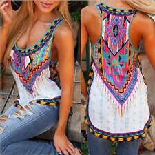 Women Summer Sleeveless Printed Vest Tee Shirt Boho Blouse Casual Tank Tops HOT