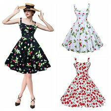 50s 60s Hepburn Style Housewife Pinup Floral Rockabilly Cherry Print Swing Dress