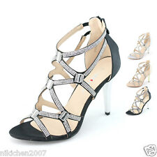womens sexy high stiletto heels strappy sandals zip elastic ankle wedding shoes