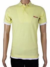 New Bench Mens Size S M Long Fit Yellow Short Sleeve Polo Shirt Top