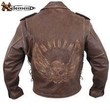 Distressed Brown Mayhem Cowhide Traditional Leather Motorcycle Biker Jacket $229