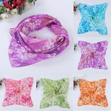 Summer Women Butterfly Square Printing Scarf Head Wrap Soft Kerchief Neck Shawl