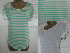 NEW EX M&S Linen Mix Casual T-Shirt Top Summer Striped Short Green Grey Sz 8-24