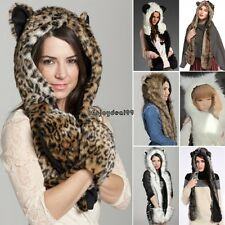 Winter Warm Hood Animal Hood Faux Fur Hat Scarf With Mittens Gloves Pocket OO55
