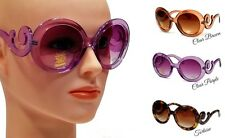 WOMEN VINTAGE FASHION SUNGLASSES BAROQUE SWIRL STYLE ROUND FRAME GRADIENT LENS