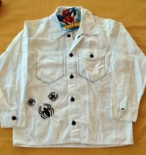 NWT Youth Marvel Black Spiders & Spiderman White Button Up Shirt Sizes Vary