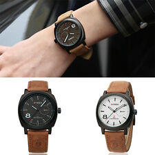 New Fashion Sport Men Watch Quartz Casual Military Army Leather Band Wristwatch