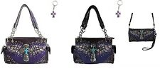 PURPLE TURQUOISE RHINESTONE CROSS WINGS CONCEALED CARRY GUN PURSE OR WALLET SET