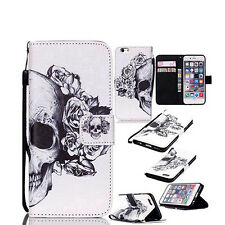 Flip Faux Leather Skull Head  Case Cover for iPhone For Samsung Salable
