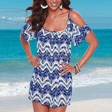 Sexy Women's Strappy Off Shoulder Dress Summer Casual Printed Beach Mini Skirt