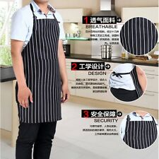 Adjustable Adult Stripe Bib Apron Chef Waiter Kitchen Cook  With 2 Pocket Useful