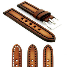 StrapsCo Vintage Thick Watch Band Strap in Brown w Heavy Duty Contrast Stitching