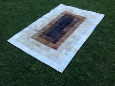 New Large Cowhide Rug Patchwork Cowskin Cow Hide Leather Carpet Brown.