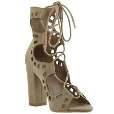 Womens Lace Up Ghillie High Heel Ankle Booties Taupe