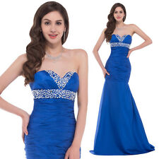 Elegant Blue Sweetheart Formal Bridesmaid Gown Evening Prom Party Mermaid Dress