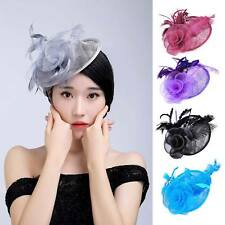 Lady Top Hat Fascinator Hair Clip Feather Sinamay Cocktail Party Church Wedding