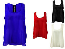 Womens Ladies Plain Sleeveless Chiffon Top Casual Blouse Vest Top Size 8-14