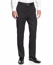 Calvin Klein Slim Fit Charcoal Gray Mini Striped Flat Front Washable Dress Pants
