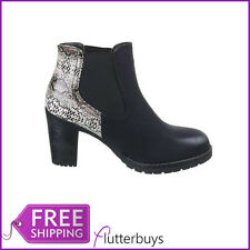 Womens Chunky Block heel ankle boots snakeskin back Elasticated Side Panels