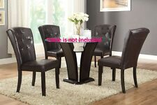 Contemporary Dining Chairs Dark Brown Faux leather Tufted back Furniture Chair