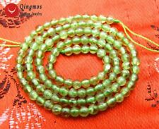 "SALE 3-4mm Round natural Green Authentic Peridot Gemstone Loose Beads 15""-los655"