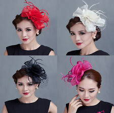 Victorian Style Lady Feather Sinamay Fascinator Derby Party Hat Wedding Box pack