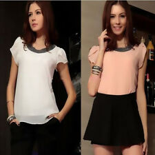 Casual Women Short Sleeve Chiffon Tops Summer Blouses Hot T-Shirt Plus Size New