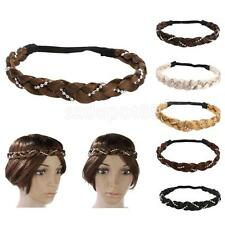 Women Girls Braided Wig Ponytail Elastic Rope Pretty Synthetic Hair Band Acce