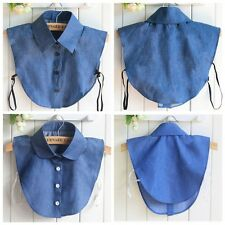 Women Detachable Fake Collar Denim Necklace Peter Pan Removable False Collar Tie