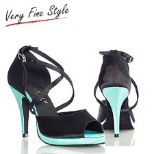 Sexy Women Latin Dance Shoes Heel 10CM Tango Salsa Dancing Shoes Black size 5-10