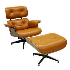 Mid Century Modern Leather Plywood Eames Lounge Chair and Ottoman TR Furniture