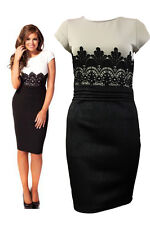 Womens Celebrity Jessica Wright Lace Cotrast Bodycon Evening Party Dress 8-14