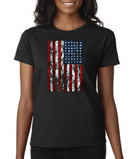 American Flag Distressed Tattered Vintage USA Patriot Ladies T-Shirt S-2XL