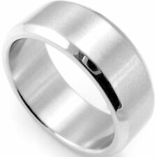 Custom Engraving 6MM Unisex Silver Tungsten Carbide Beveled Edges Ring Band