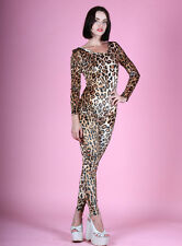 Leopard Print Stretch Velvet Spandex Unitard Catsuit Jumpsuit Long Sleeves