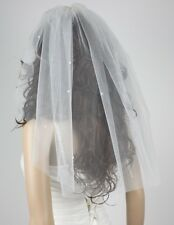 New 1 Tier White Ivory wth pearl short bridal Bride veil wedding accessories