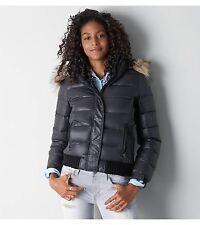 NWT $129 American Eagle True  Black Hooded Down Puffer Jacket Coat XS S M L