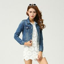 New Women's Fashion Casual Long Sleeve Denim Jacket Jeans Short Coat Jacket