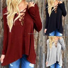 Fashion Women Irregular V-Neck Cotton Blend Blouse T-shirt Tops Shirt gift NC89